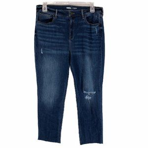 Old Navy Blue Straight Ankle Denim Jeans Size 16
